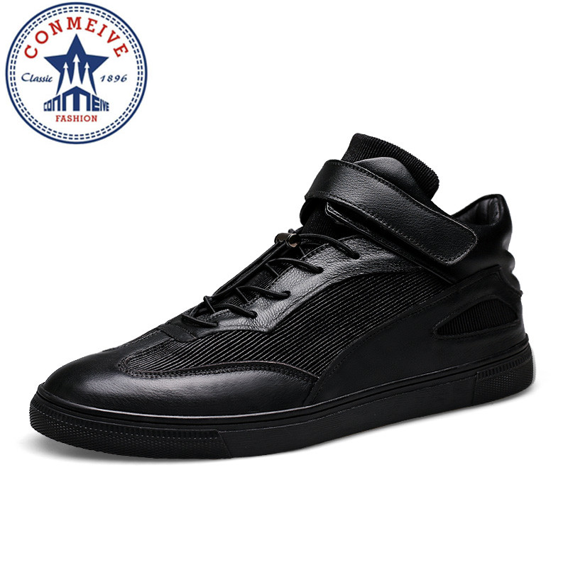 High Quality New Arrival Velve Men's Casual Shoes Outdoor Genuine Leather Man Shoes High Upper Top Flats Comfortable Plate Shoes top brand high quality genuine leather casual men shoes cow suede comfortable loafers soft breathable shoes men flats warm