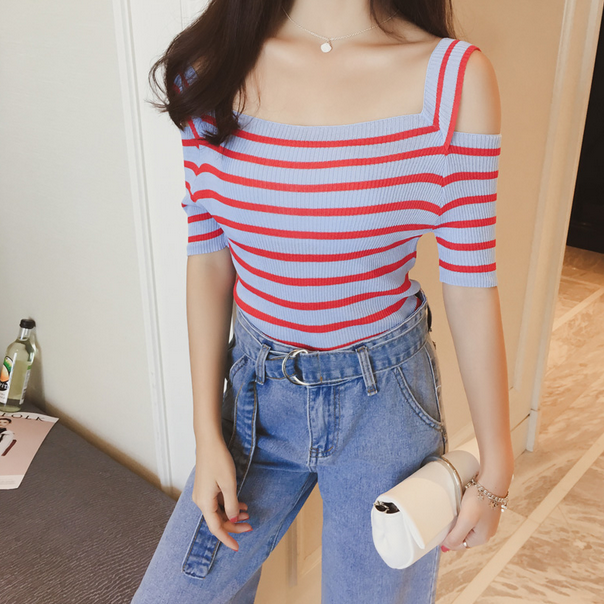 2018 Promotion None Women Pullover Summer New Word Wide Collar Stripes Color Ice Silky Knit Shirt Sleeve Sling Shirts