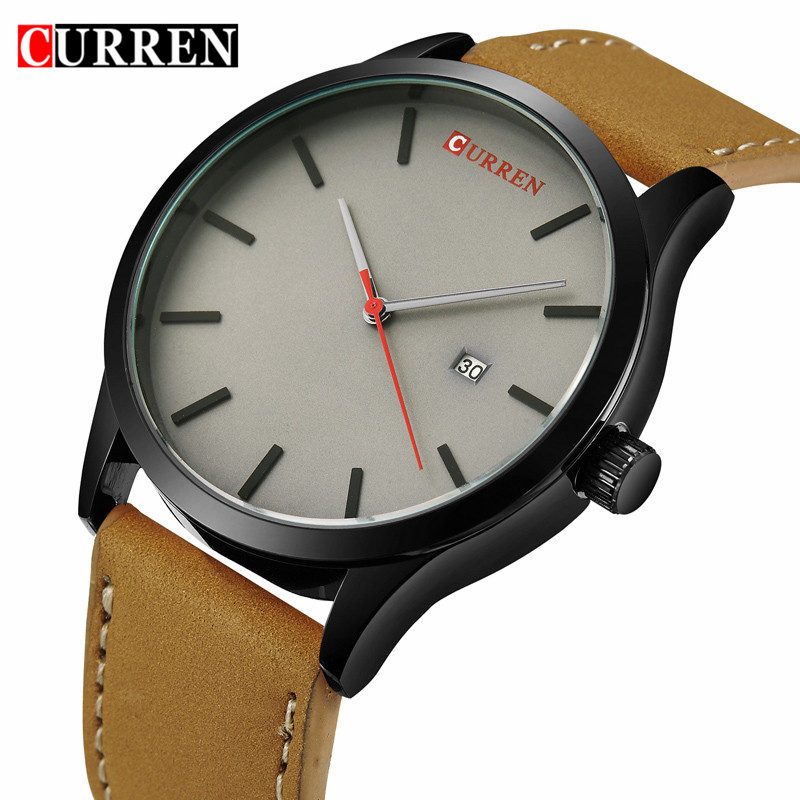 New Curren Watch Men Brand Luxury Leather Brown Analog Quartz Mens Watches Casual Sport Male Wristwatch With Calendar Man Clock new curren men wrist watches top brand luxury man wristwatch full steel silver strap mens quartz watch calendar male hour clocks
