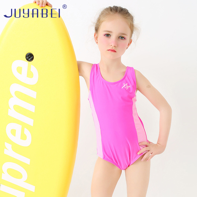 fe0360411f863 JUYABEI Kids Swimwear Pink One Piece Swimsuit for Girls Bathing Suits  Children Lovely Girl Sport Swimsuit Teenager Bodysuit