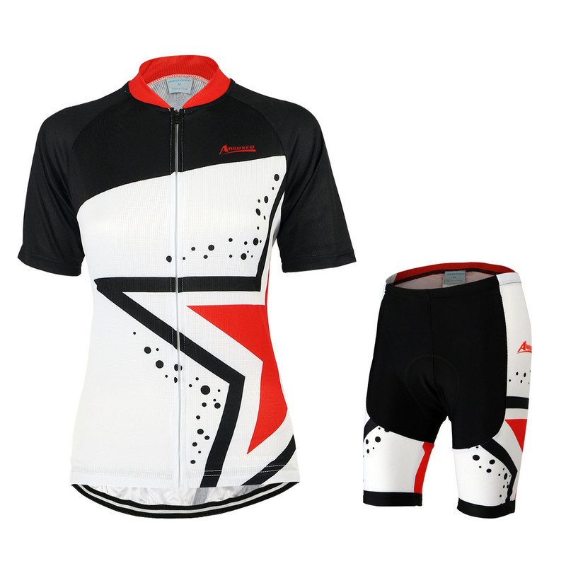 ARSUXEO Cycling Jersey And Shorts Set  Female Women's Summer Short Sleeve MTB Bike Bicycle Racing Shirt Set Sportswear Clothing arsuxeo cycling short pants