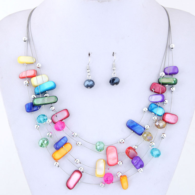 KMVEXO Women Bohemian African Beads Jewelry Set 2018 Multilayers Necklace Earrings Crystal Shell Jewelry Sets Charm Wedding Sets