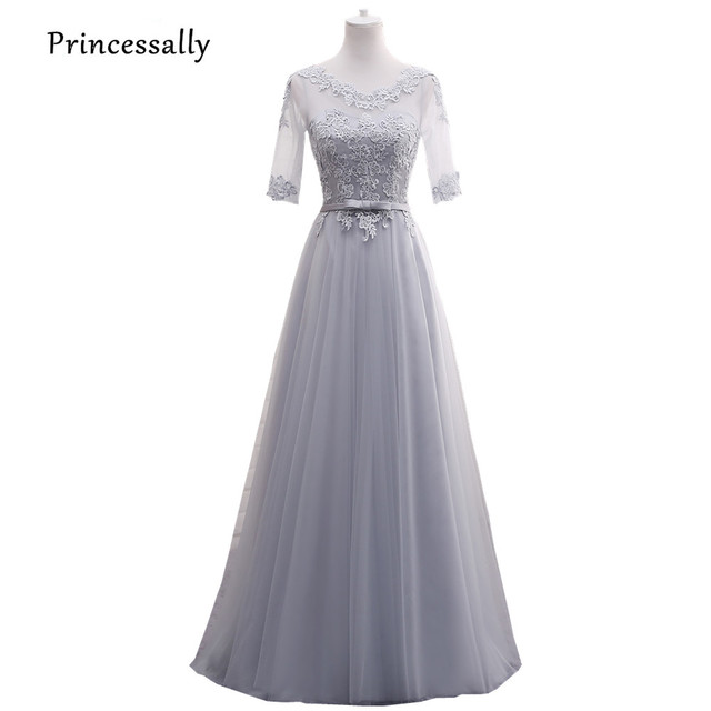 New Light Grey Bridesmaid Dresses Long Half Long Sleeve Illusion