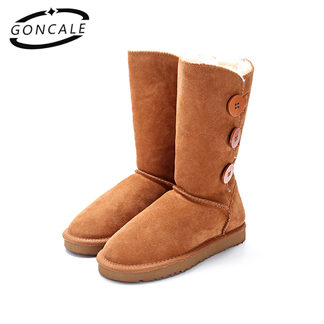 GONCALE Fashion Women winter snow boots genuine leather Black Mid-Calf  female winter boots girls shoes for women Big Size:4-13