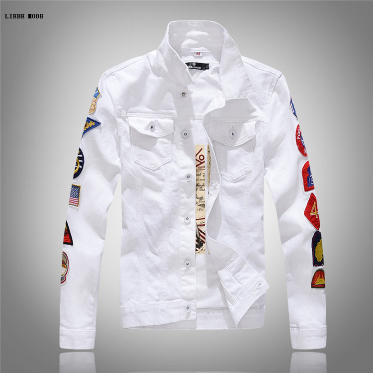 590b798bf98 Men s Casual White Denim Jacket Slim Jeans Jacket Fashion Patch Lapel Slim  Fit Army Green Denim Jean Bomber Jacket For Men XXXL-in Jackets from Men s  ...