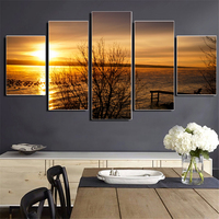Unframed Canvas Painting Sunset Landscape Picture Setting Sun Scenery Wall Pictures for Decoration Modern Modular Picture 5Pcs