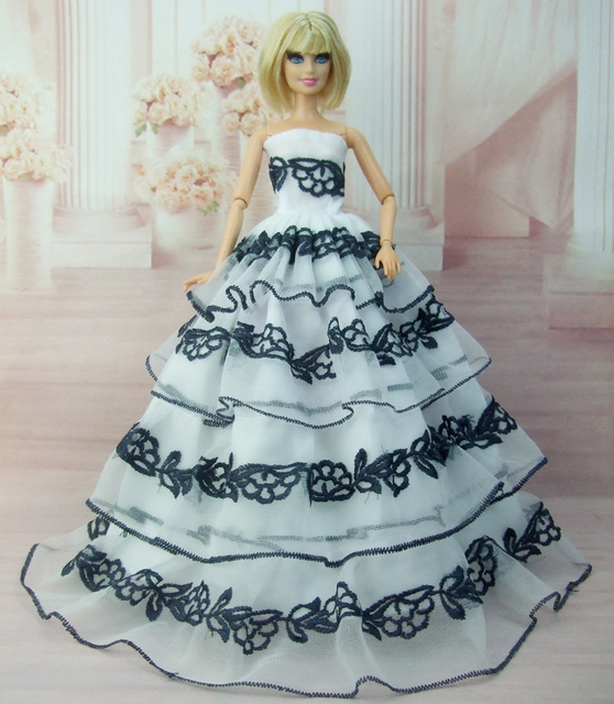 Embroidery princess white red black wedding dress for Barbie doll ...