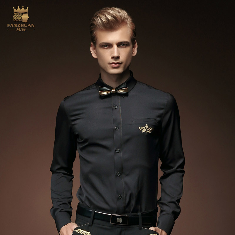 2015 New Fashion Bamboo Fiber Black Men Shirt Long Sleeve