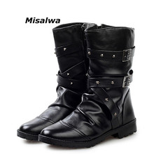 Misalwa New England Style Boots Black White Punk Motorcycle For Men PU Leather Zipper Buckle Strap Warm Snow Boot Dropship