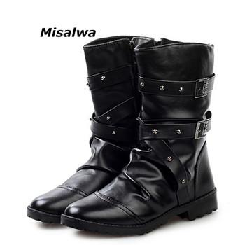 Misalwa New England style buty Black White punk buty motocyklowe dla mężczyzn PU skórzany zamek klamrowy pasek ciepły Snow Boot dropship tanie i dobre opinie Dorosłych Niska (1cm-3cm) Gumowe Masz Połowy łydki Zima Okrągły palec Pasuje do rozmiaru Weź swój normalny rozmiar