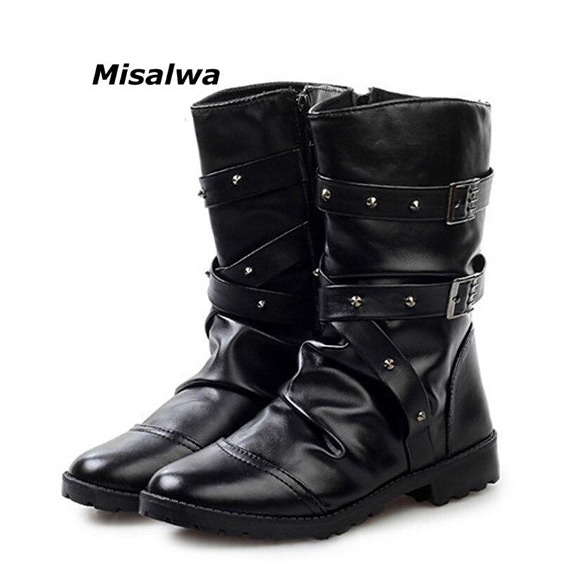 Misalwa Nouvelle-Angleterre Style Bottes Noir Blanc Punk bottes de moto Pour Hommes PU Cuir Zipper Boucle Sangle Chaud bottes de neige livraison directe