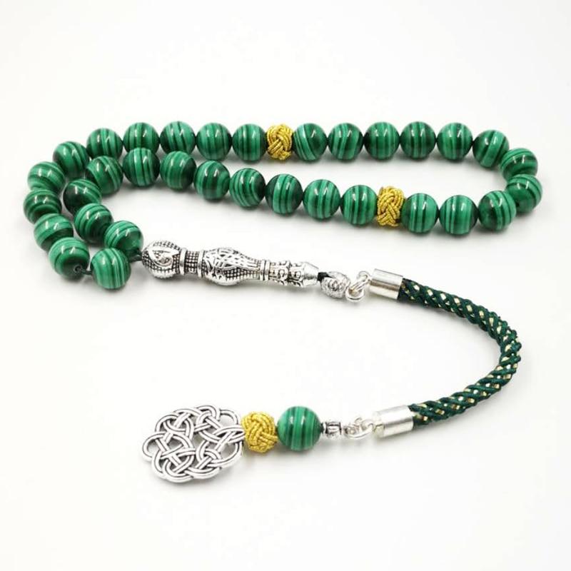 100 Natural Malachite Tasbih beads bracelets Green Malachite Grade AAAAA rosary Muslim Beaded Jewelry Yoga March
