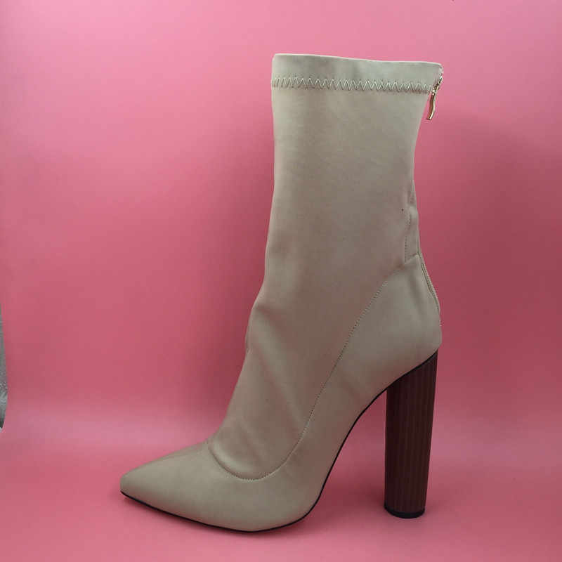 eec32f439e ... Sorbern Extra High Heels 13cm Women Boots Stretch Fabric Round Heels  Pointed Toe Large Size Ladies ...