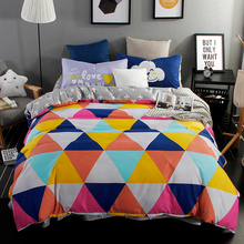 Home Textiles,color triangle style king Queen Full Twin size bedding sets of quilt cover flat sheet pillowcase bedclothes