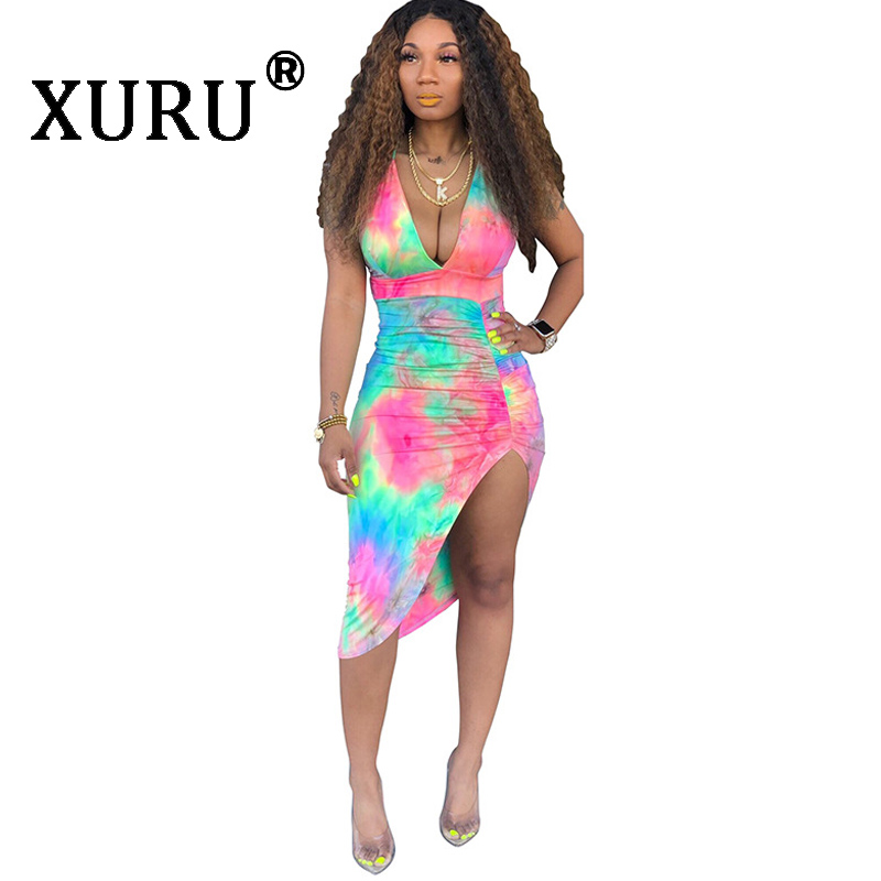 XURU Summer New Women 39 s Dress Night Fashion Sexy Hanging Neck Strap V neck Halter Print Dress in Dresses from Women 39 s Clothing