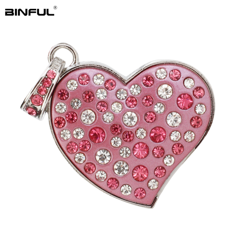 Image 3 - New Arrival pen drive metal love Heart usb flash drive 32gb crystal pendrive 128GB 64GB 16GB 8GB 4G flash Memory stick best gift-in USB Flash Drives from Computer & Office