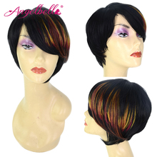 Angelbella 100 Human Hair Wig with Full Colorful Bangs Natural Side Part Wigs for Black Women Short Virgin Hair Women Wigs