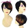 Angelbella 100 peluca de cabello humano con flequillo completo colorido natural Parte lateral Pelo Virginal Pelucas para Las Mujeres Negras Cortas de Las Mujeres pelucas