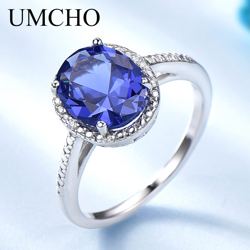UMCHO Elegant Created Tanzanite Gemstone Jewelry 925 Sterling Silver Blue Rings For Women Forlove Anniversary Gifts Fine Jewelry