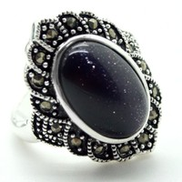 Unsex 17 22mm MIRROR SHAPE BLUE SAND STONE 925 SILVER MARCASITE RING SIZE 7 8 9
