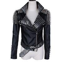 Big size Spring Black Rivet Metallic PU Leather Jacket Women Classic Zipper Short Motorcycle Jackets Lady Autumn Leather Jacket