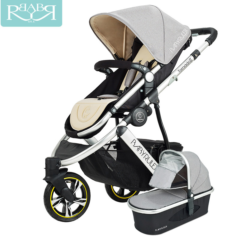 Babyruler Baby Stroller 3 in 1 High Landscape Aluminum Luxury Folding Baby Carriage For Newborn Russia Free Shippinng babyruler baby stroller 3 in 1 high landscape aluminum luxury folding baby carriage pram for newborn kinderwagen carrinhos koltu
