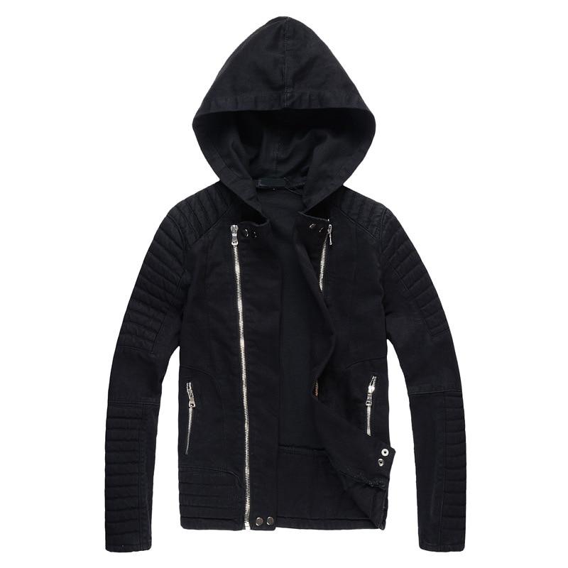 ABOORUN Fashion Mens Hooded Denim Jackets Black Motor Biker Jeans Jackets Male Brand Designed Jackets x992