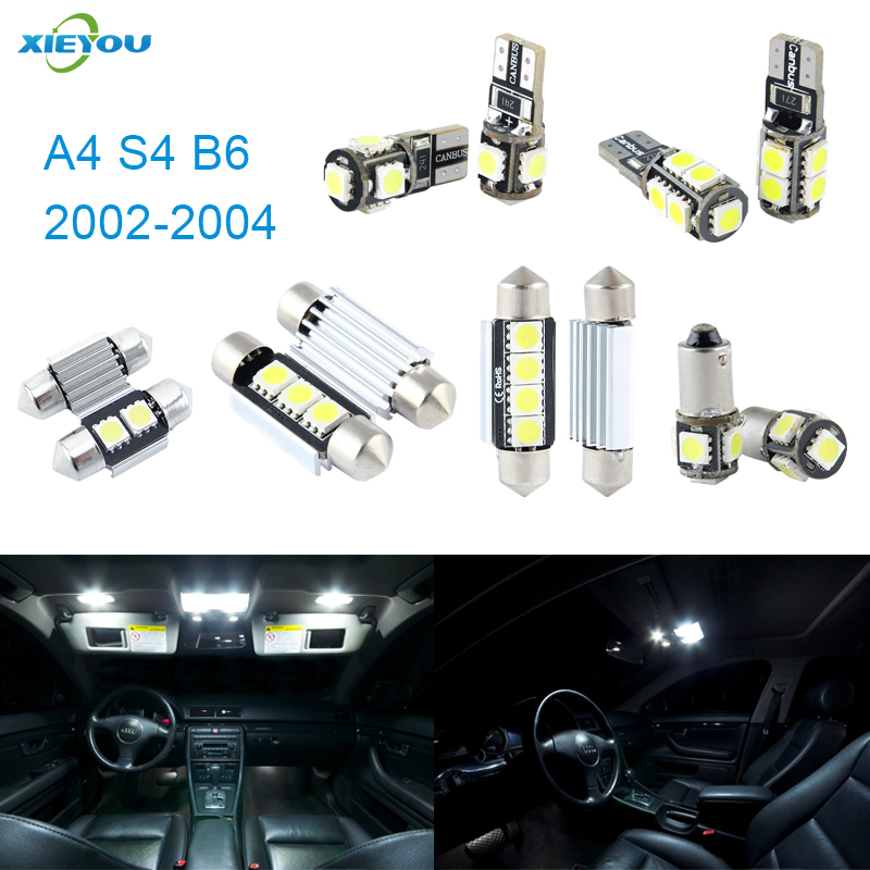 XIEYOU 20pcs LED Canbus Interior Lights Kit Package For Audi A4 S4 B6 (2002-2004) 20pc x canbus led lamp interior dome map light kit package for audi a4 s4 rs4 b6 b7 sedan saloon only 2002 2008