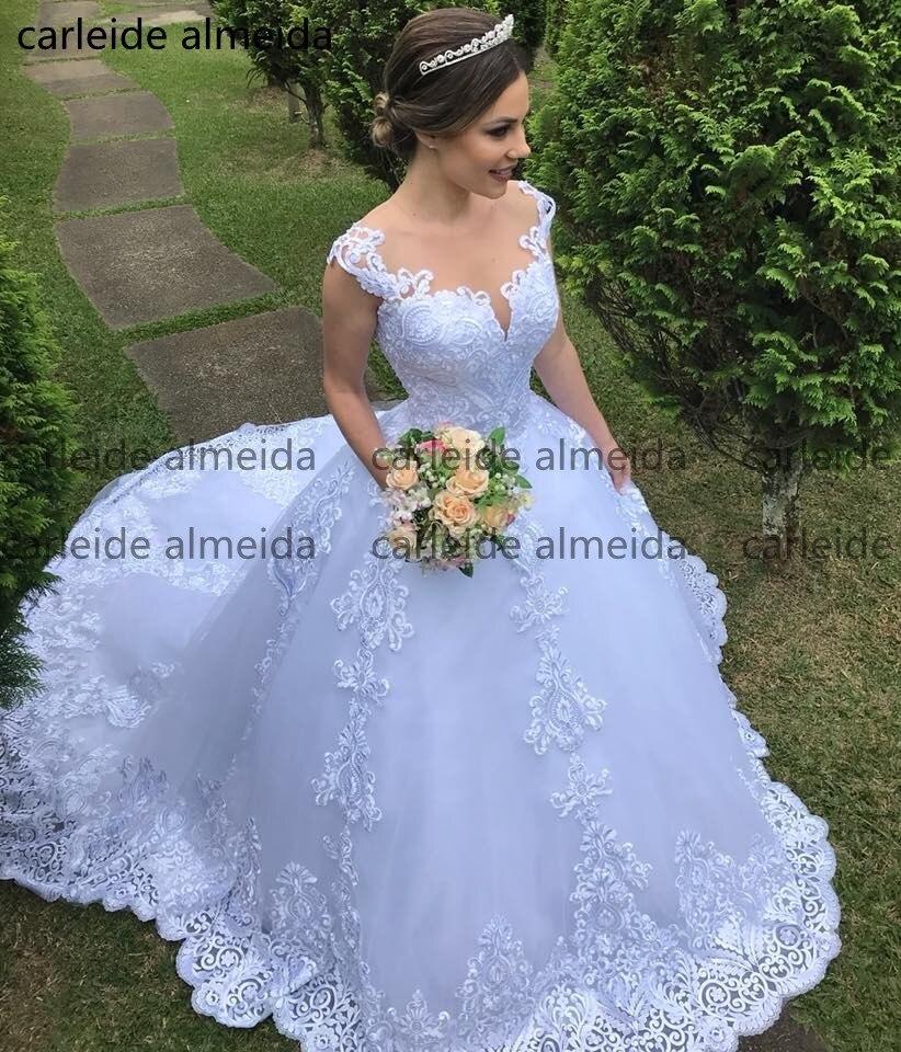 Robes de noiva O-cou Robe de Bal Princesse Robe de Mariée En Dentelle Appliques Longue Queue de Luxe Mariée Robe Sexy Retour Robe de mariee