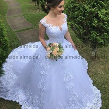 Vestidos de noiva O-Neck Ball Gown Princess Wedding Dress La