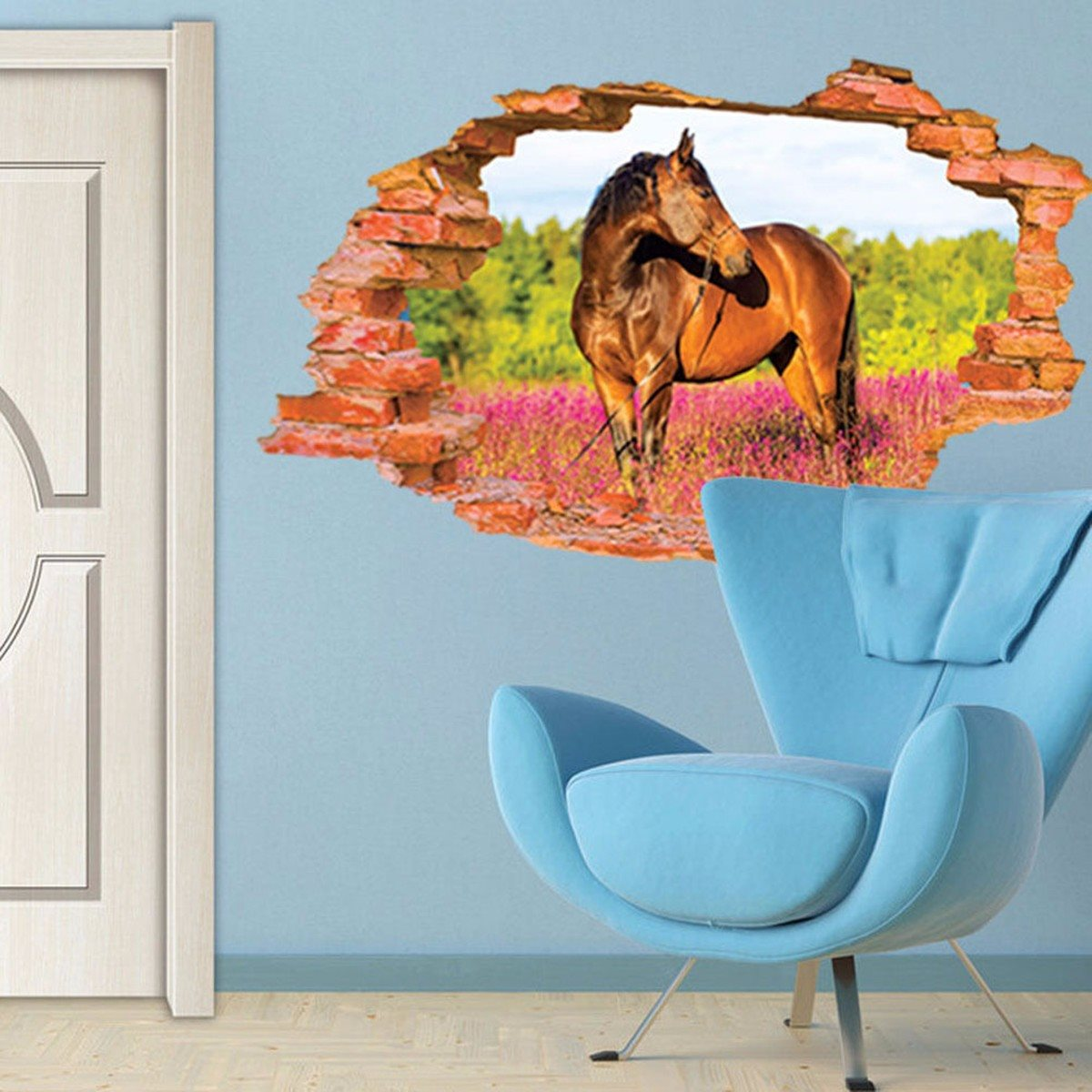 Buy removable vinyl 3d broken horse for Animal wall mural