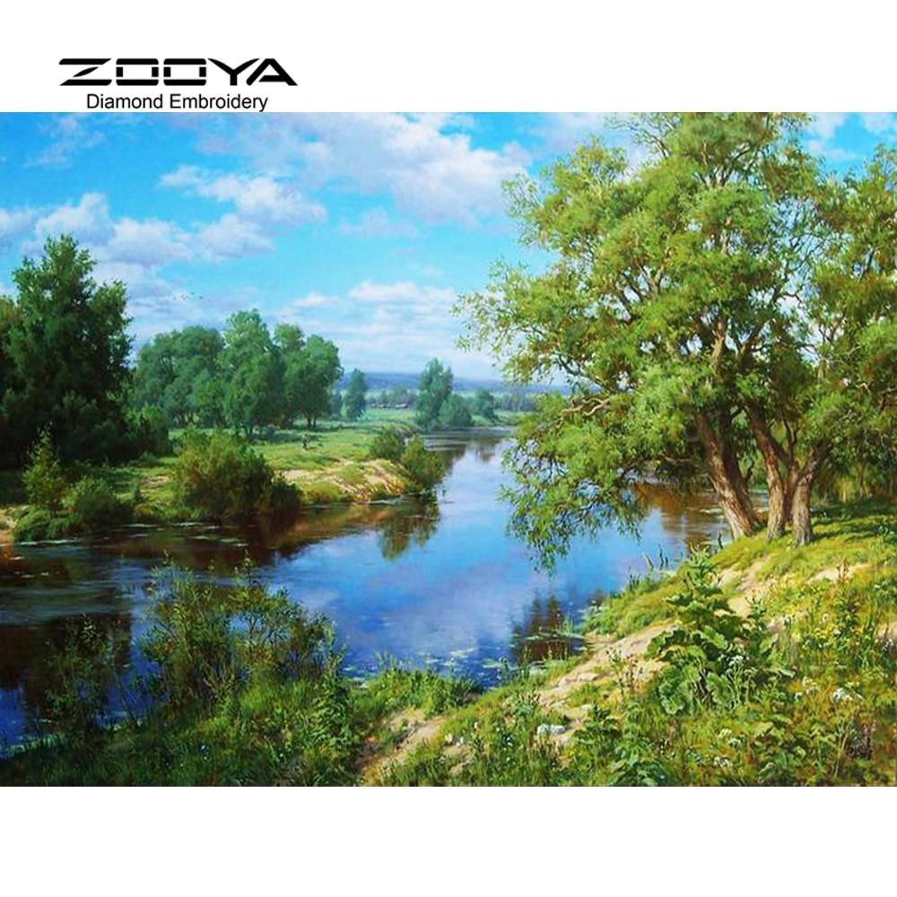 5d diy pintura bordado de diamante paisaje de punto de cruz árboles decoración del hogar completo mosaico artesanía 3d kit para la costura bj281