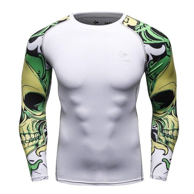 128e330182a513 Męska koszulka kompresyjna MMA Rashguard utrzymać Fit Fitness długie rękawy  warstwa bazowa Skin Tight podnoszenie ciężarów