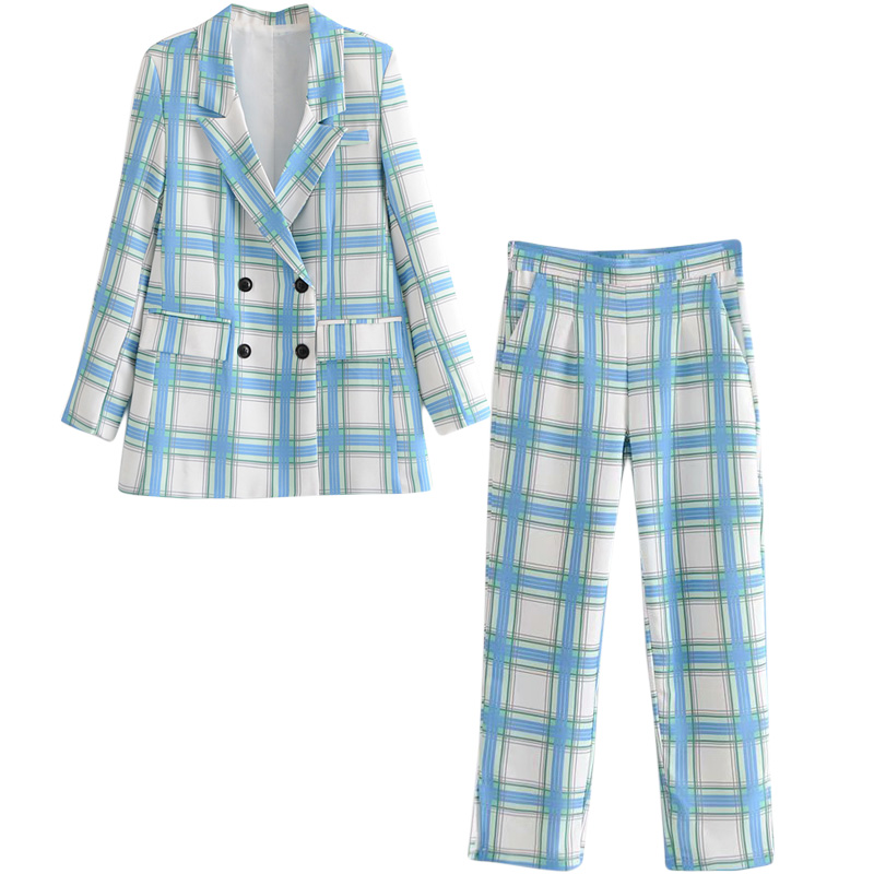 Set female spring and autumn new loose small suit jacket high waist pants two-piece temperament fashion plaid women's clothes