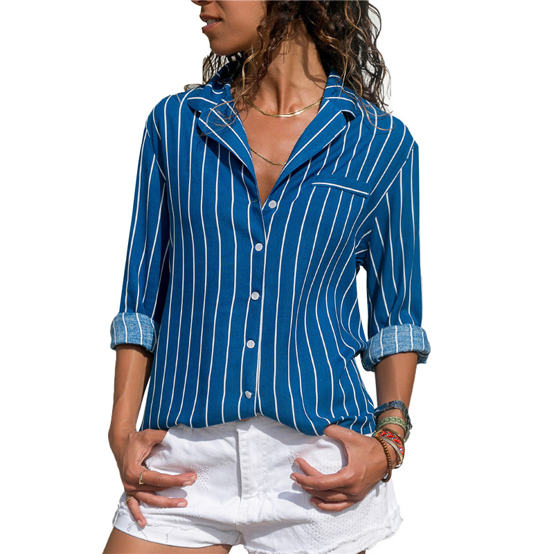 Spring Summer season Attractive V-neck Workplace Women Shirts Plus Dimension Ladies Tops and Blouses Black Blue Purple Striped Clothes for Feminine Blusa Blouses & Shirts, Low cost Blouses &...