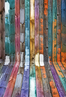 HUA Art fabric photography colored wood fence backdrop 5x7ft D1278