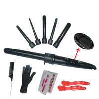 High Quality 410F Hair Roller 5 In1 Removable Hair Curling Iron Conical Curling Wand With Glove