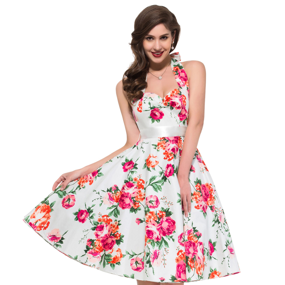 Dress up xl games - 2016 New Fashion Stock Cotton Flower Print Ball Evening Prom Gown Short 50s 60s Retro Party