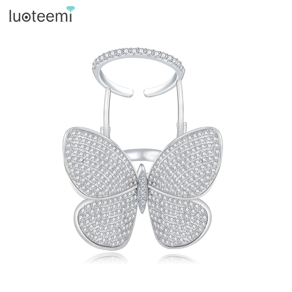 LUOTEEMI High Quality Fashionable Unik Justerbar Ring Micro Paved Shining CZ Flyttbar Butterfly Shape Smycken för Party Gift