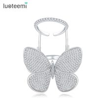 LUOTEEMI High Quality Fashionable Unique Adjustable Ring Micro Paved Shining CZ Movable Butterfly Shape Jewelry for Party Gift(China)