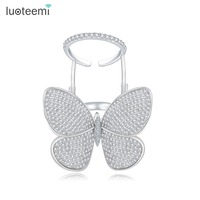 LUOTEEMI High Quality Fashionable Unique Adjustable Ring Micro Paved Shining CZ Movable Butterfly Shape Jewelry For