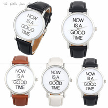 New Fashion 2016 Relogio Feminino Reloj Mujer Women watch lady NOW IS A GOOD TIME Leather Band Analog Quartz Dial Watch 40d00