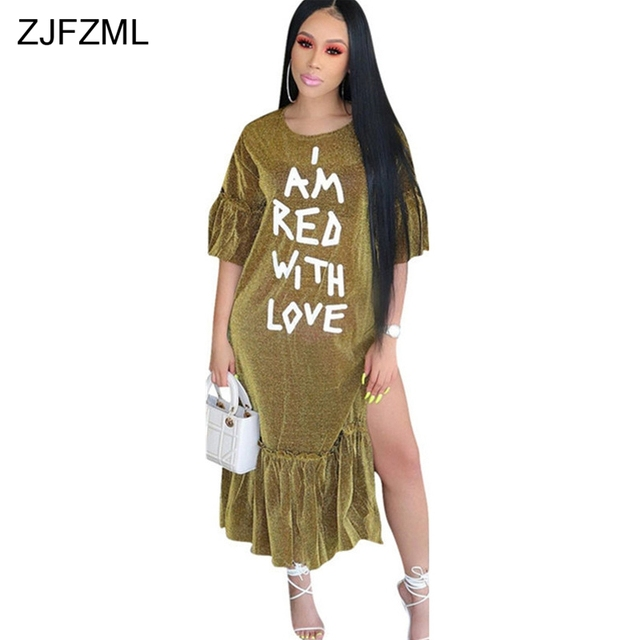 37b71a41f5755 ZJFZML White Letter Print Plus Size Dress Women Shiny Gold Side Split  Ruffles Vestidos Autumn Half