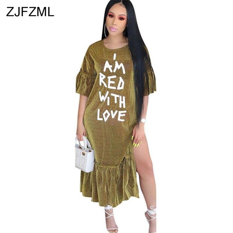 ZJFZML White Letter Print Plus Size Dress Women Shiny Gold Side Split Ruffles Vestidos Autumn Half Sleeve Loose Maxi Robe Femmme