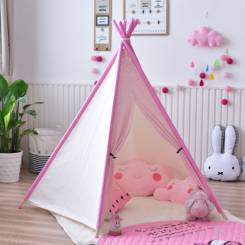 reputable site 97cd5 4023f US $101.4 40% OFF|YARD Five Poles Children Teepee Tent Kids Play Tent  Teepee Toy Tents Cotton Canvas Play House for Kids-in Toy Tents from Toys &  ...