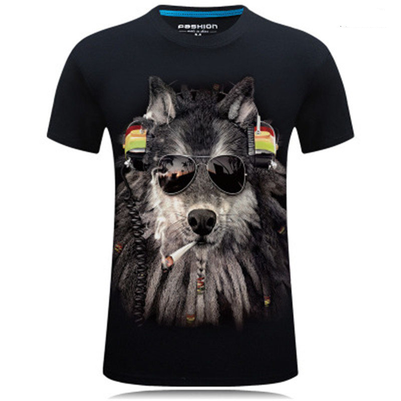 Summer T Shirts Men Wolf 3D Printed Dragon Causal Brand-clothing Short Sleeve T-shirts Male Tees Round Neck Hip Hop Pullover Top