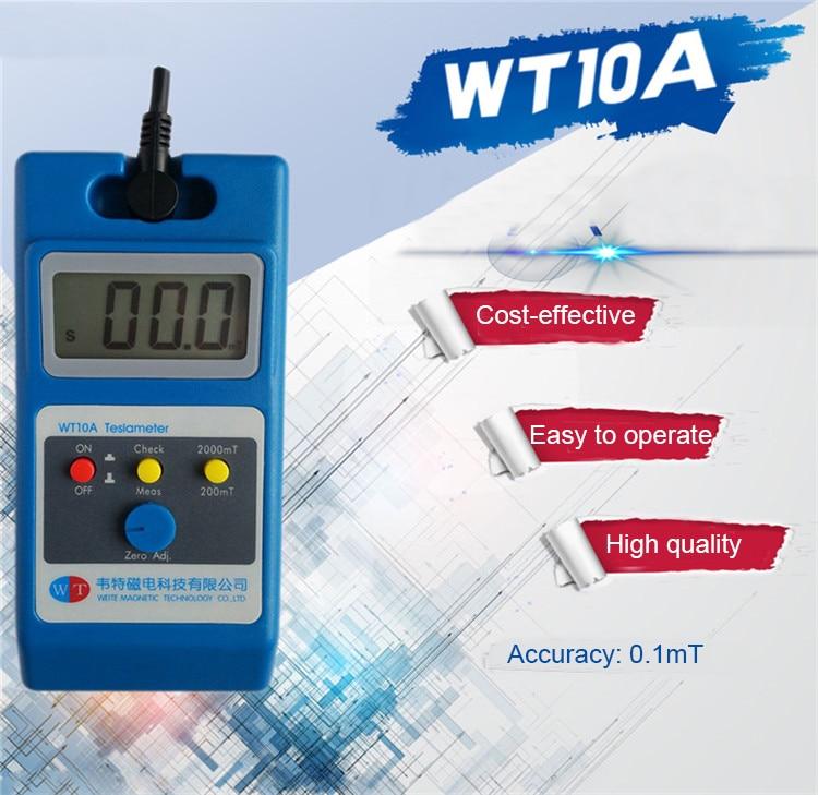 WT10A Magnetômetro do Campo Magnético da Superfície Testador Medidor de Gauss Tesla Gaussmeter Gigital 0 ~ 2000mT Fluxmeter Ns função Com Sonda