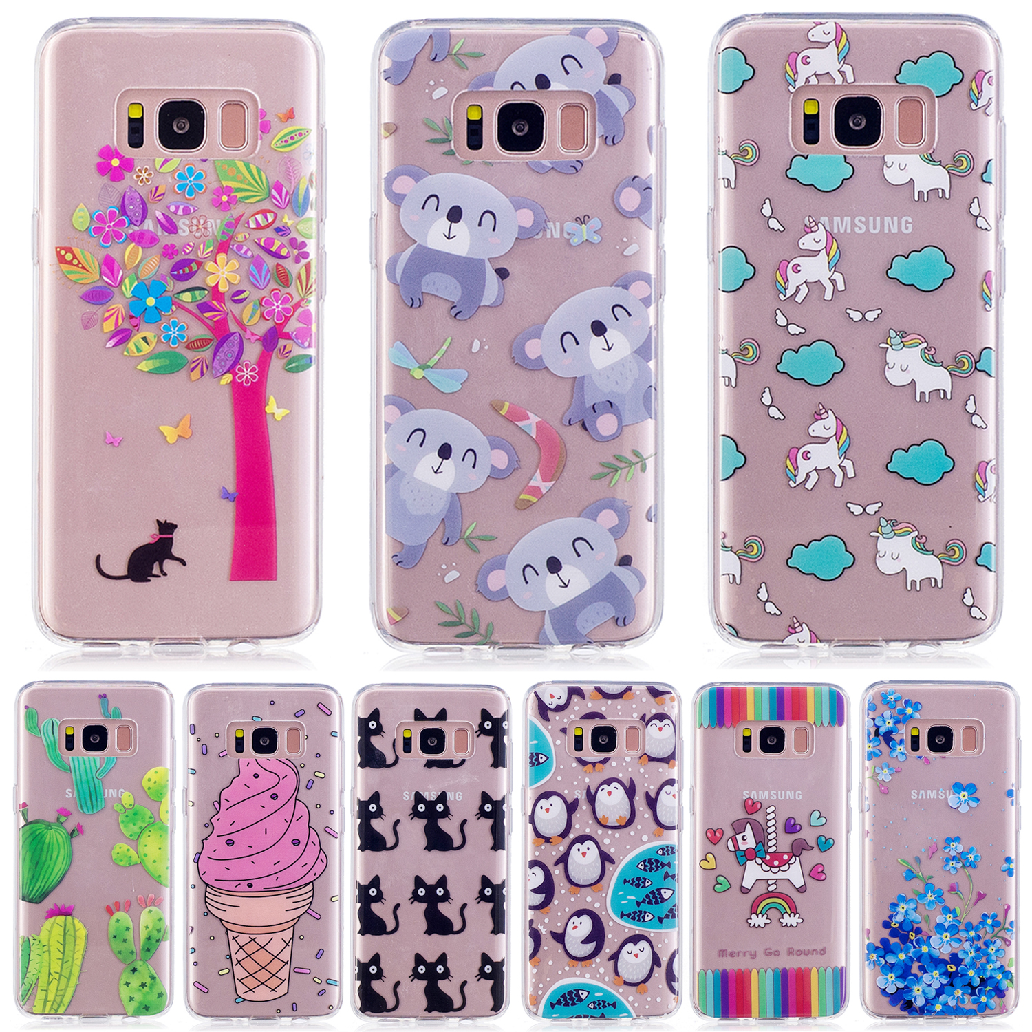 Phone Cover for Galaxy S 8 TPU Cases Pattern Printing IMD TPU Shell Cover Case for Samsung Galaxy S8 Unicorn