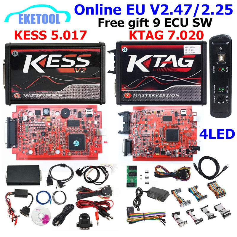 Интернет-KTAG V7.020 V2.25 4LED K-TAG V7.020 KESS V5.017 V2.47 V2 KESS V2.47 5,017 без токеш Limited Матрица для режима отладки для центрального блока системы электропитания п...