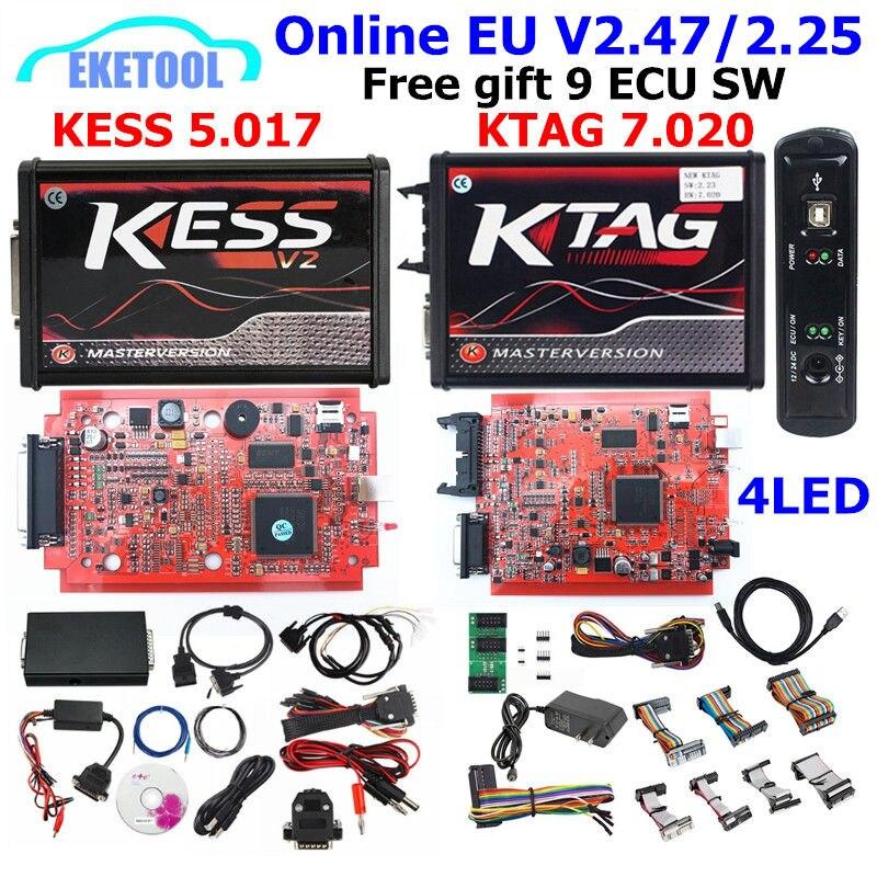 Online KTAG V7.020 V2.25 4LED K-TAG V7.020 KESS V5.017 V2.47 V2 KESS V2.47 5,017 Keine Tokes Begrenzte BDM Rahmen ECU programmierer